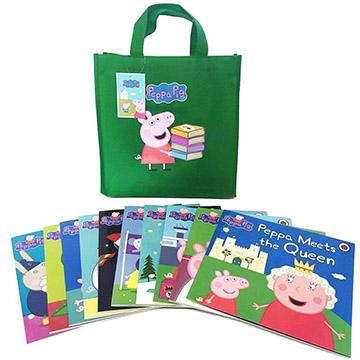 Peppa Pig Bag Collection 佩佩豬旅行袋套裝書(10本平裝故事書+1綠色提袋)(外文書)