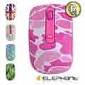 ELEPHANT靜音品味風格無線滑鼠(WEM-M517)迷彩粉紅