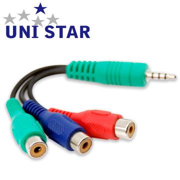 UNI-STAR LED薄型電視專用 3.5mm公-色差端子母轉接線