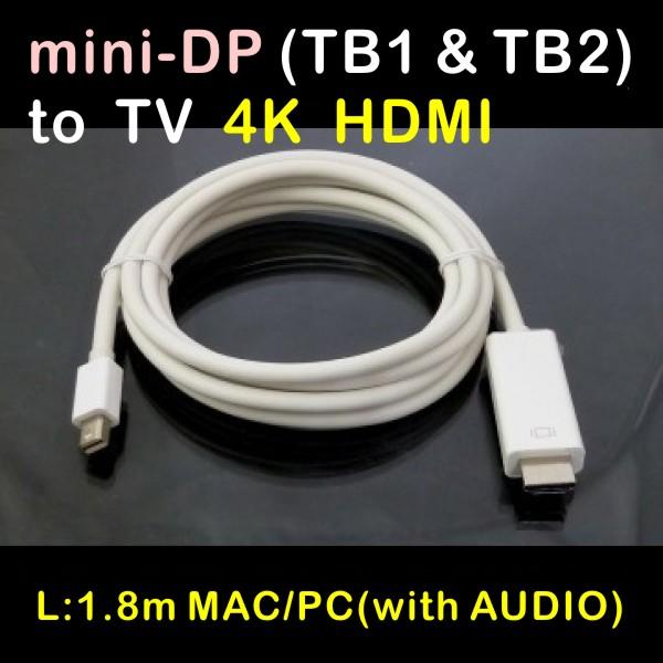 含音效 mini displayport公(支援閃電Thunderbolt) 轉 4K HDMI公 1.8公尺 Ultra HD TV(LPC-1873 = LPC-1874)支援4K與1080P