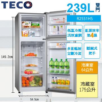 TECO東元239公升雙門冰箱R2551HS