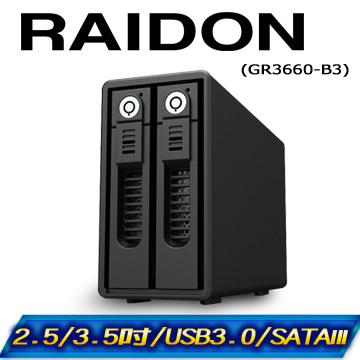 RAIDON GR3660-B3 USB3.0 2bay 3.5吋磁碟陣列設備
