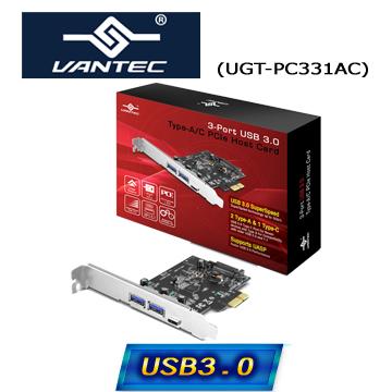 凡達克3埠 USB 3.0 Type-A/C PCIe 介面卡(UGT-PC331AC)