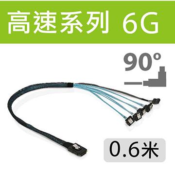 SHI102 SFF8087 to 4SATA(90D) 0.6m