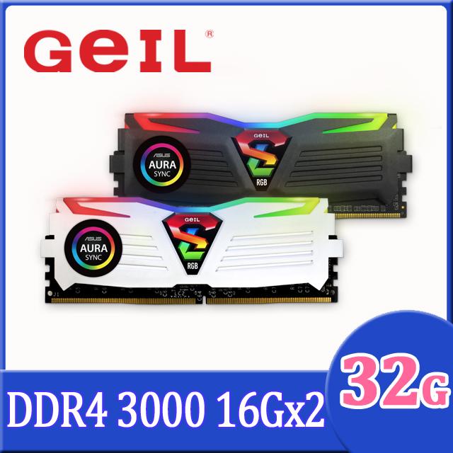 GeIL D4 極光同步系列-RGB Sync 32GB(16GX2)3000Mhz 桌上型電腦記憶體