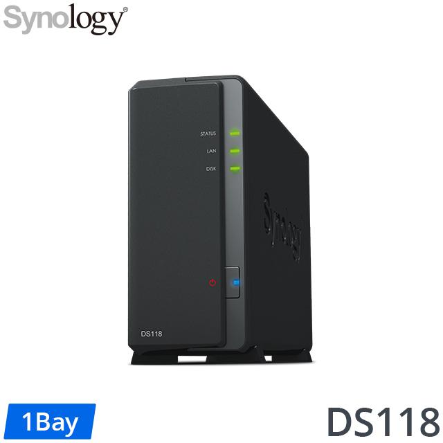 [WD NAS碟(3年保) 12TB*1]Synology DS118 NAS(1Bay/Realtek/1GB)