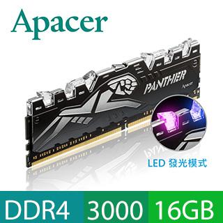 Apacer 宇瞻 PANTHER RAGE DDR4 3000 16GB 黑豹桌上型RGB發光電競記憶(8GBx2)