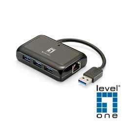 【LevelOne】超高速Gigabit USB網卡+USB集線器 USB-0502