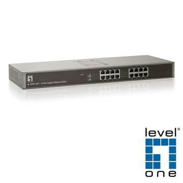 【LevelOne】10/100/1000Mbps 16埠超高速乙太網路交換器GSW-1657