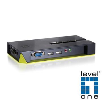 【LevelOne】4埠USB, Audio桌上型電腦切換器 KVM-0421