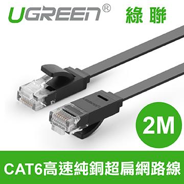 綠聯 CAT6 高速超扁網路線 2M 1000Mbps高速傳輸 高品質零延遲