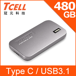 TCELL 冠元- TPS100 480GB Type-C 行動固態硬碟(鈦金灰)