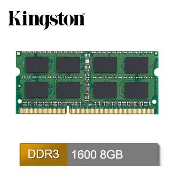 Kingston 8GB DDR3 1600筆記型記憶體(低電壓1.35V)