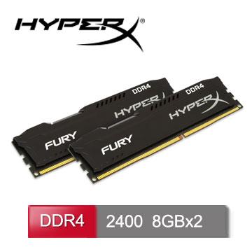 HyperX FURY DDR4-2400 16GB(8GBx2)桌上型超頻記憶體 (HX424C15FBK2/16)