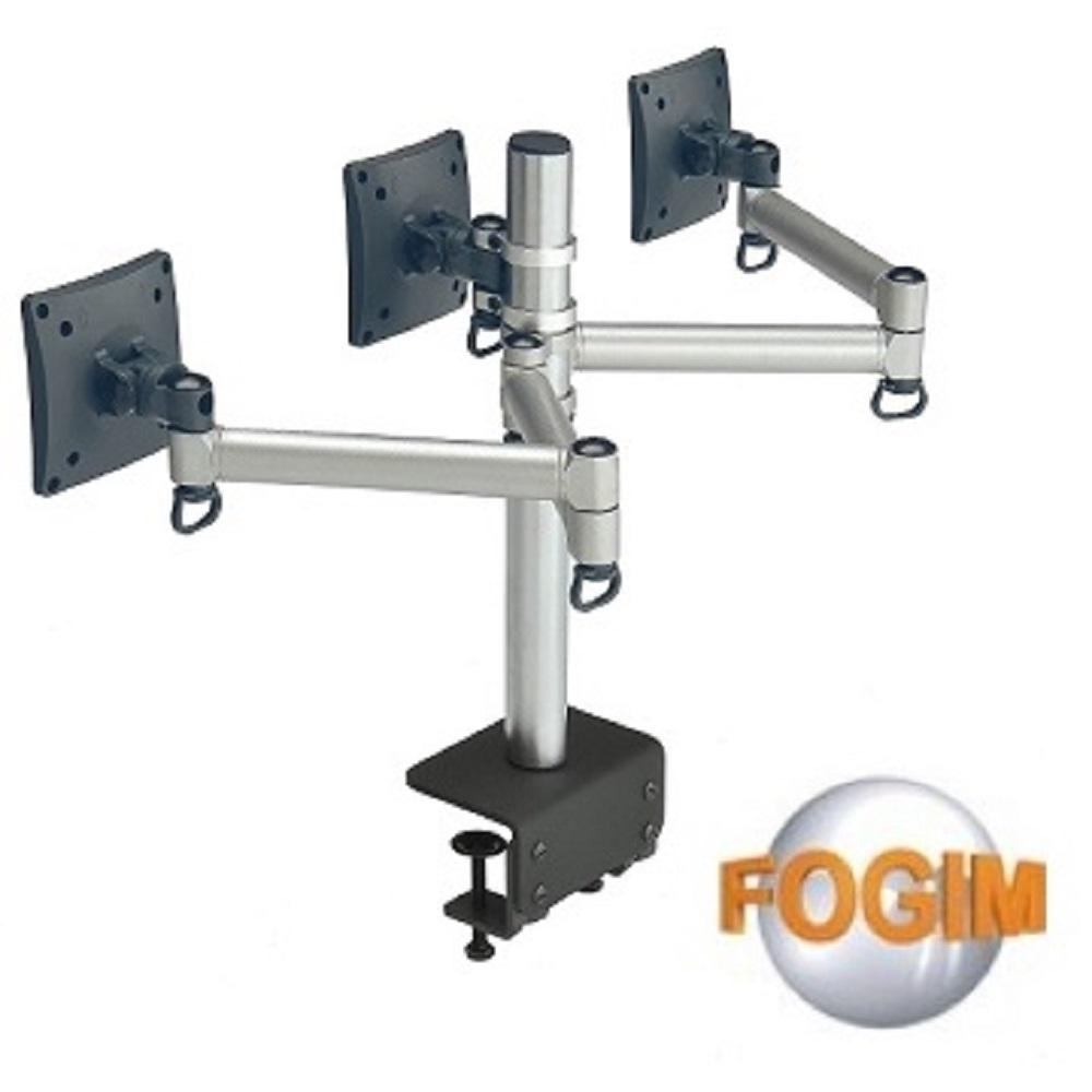 FOGIM夾桌懸臂式液晶螢幕支架(三螢幕)-終身保固
