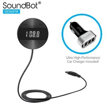 美國聲霸SoundBot SB360FM - LCD面版操控 - 車用藍牙4.1音樂接收播放,藍牙傳輸器,贈車用充電器