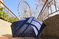 好雅FLS-3F47-AC-NY(藍底+小白花)*舒亦媚三折櫻桃勾邊抗UV超潑水超輕自動開收防曬遮陽晴雨傘