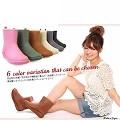 【Charming】日本製 時尚造型【個性雪靴雨鞋】-粉色-712