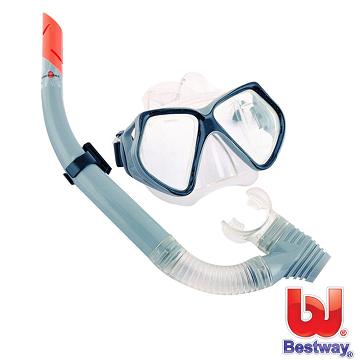【BESTWAY】鋼化玻璃潛水鏡組合(灰色)
