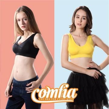 TV熱銷英國COMFIA馬卡龍無痕內衣2色2件組(黃色+黑色)