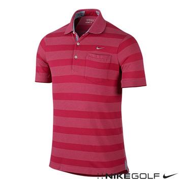 Nike Golf 休閒排汗橫紋短袖POLO衫-紅653783-693
