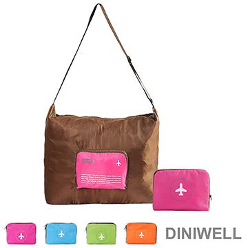 【JD】DINIWELL多功能單肩斜背可折疊行李箱拉桿收納包(40L)-玫紅