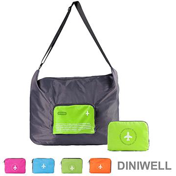 【JD】DINIWELL多功能單肩斜背可折疊行李箱拉桿收納包(40L)-綠色