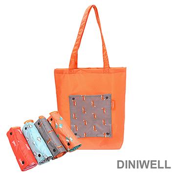 【JD】DINIWELL卡通防水折疊收納手提袋(灰色狐狸)