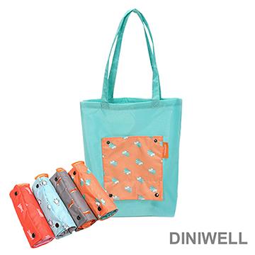 【JD】DINIWELL卡通防水折疊收納手提袋(橘色松鼠)