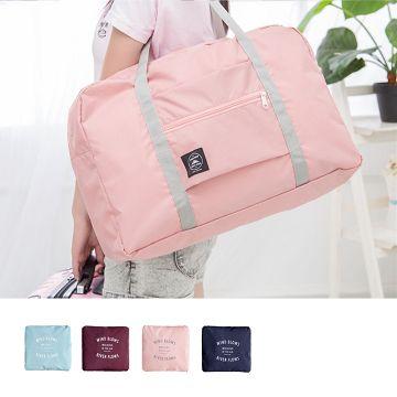 【JD】防潑水輕便拉桿摺疊單肩收納袋-粉紅