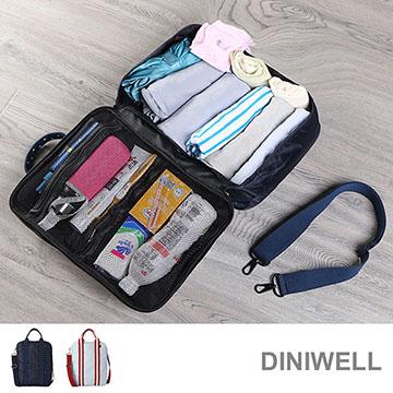 【JD】DINIWELL大容量三用旅行拉桿收納包(點點藍)