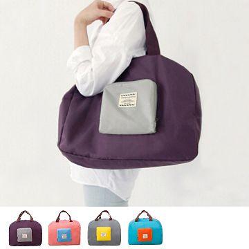 【JD】撞色款摺疊單肩收納袋/購物袋-紫色