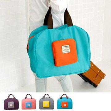 【JD】撞色款摺疊單肩收納袋/購物袋-藍綠色
