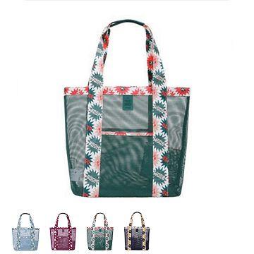 【JD】繽紛印花系列網格單肩收納袋/戶外包-綠色俏皮