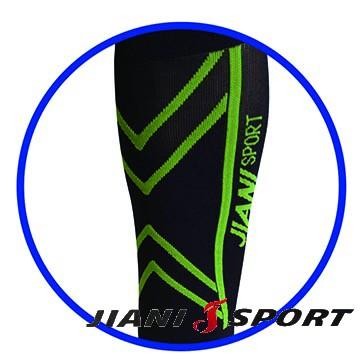 [JIANI SPORT]協會指定MST檢驗款/運動壓力小腿套/JS11/黑綠/登山/慢跑/超馬/自行車/三鐵/球類/各類運動