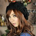 Aimee Toff  冬日氣息麻花編織氣質貝蕾帽(黑)