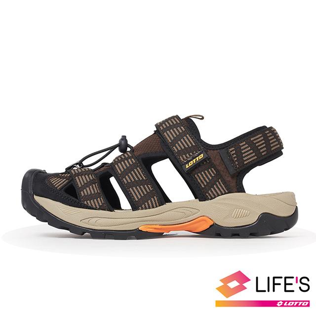【LOTTO 義大利】男 護趾排水運動涼鞋(咖啡)