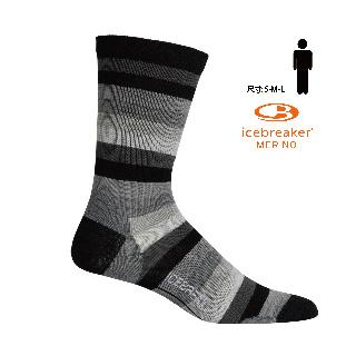 icebreaker IB104691 - 男 中筒輕薄毛圈都會休閒襪-黑灰條紋