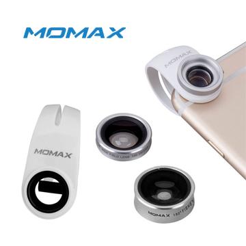 MOMAX X-Lens 3合1鏡頭組合(120度廣角、15X微距、180度魚眼)-銀