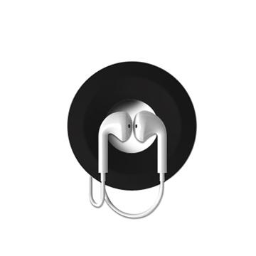 甜甜圈矽膠耳機捲線盒(黑色)