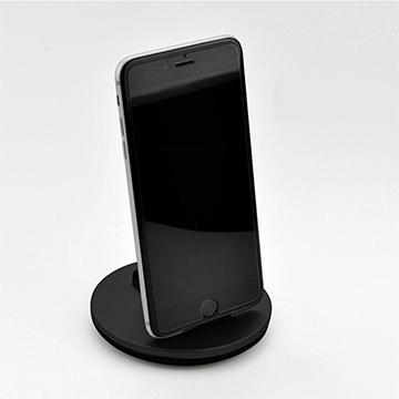 二合一鋁合金手機充電支架 圓形穩定手機金屬支架 Micro 黑色