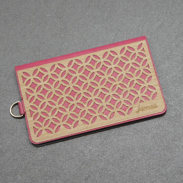 jarraa 木雕風手機背貼卡夾 Jade 桃紅色