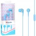 Verbatim 1.2米 粉藍色 入耳式立體音質耳機麥克風
