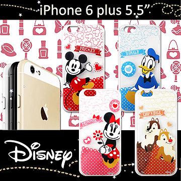 迪士尼授權正版 iPHONE 6 plus 5.5吋 休閒點點透明軟式保護套 手機殼 (經典組)