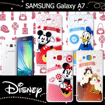 迪士尼授權正版SAMSUNG Galaxy A7休閒點點透明軟式保護套 手機殼 (經典組)