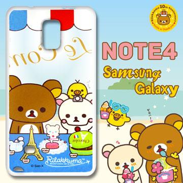 日本授權正版拉拉熊/Rilakkuma★三星 SAMSUNG Galaxy Note4 透明彩繪手機殼(巴黎鐵塔)