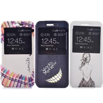 Samsung S7 edge 時尚彩繪手機皮套 側掀支架式皮套 仙境遊蹤/少女背影/蠟筆拼盤