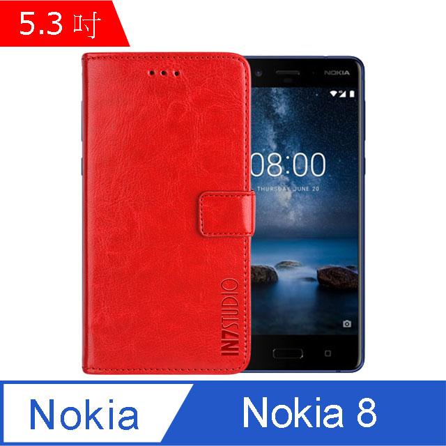 IN7 瘋馬紋 Nokia 8 (5.3吋) 錢包式 磁扣側掀PU皮套 吊飾孔 手機皮套保護殼-紅色