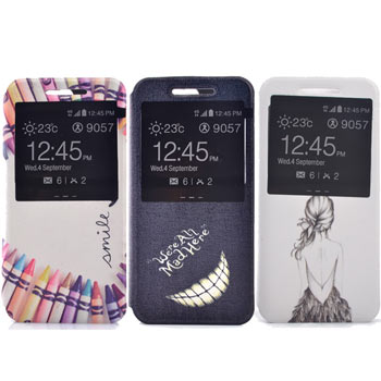 Samsung A8 時尚彩繪手機皮套 側掀支架式皮套 仙境遊蹤/少女背影/蠟筆拼盤