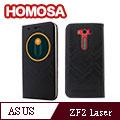 HOMOSA ASUS Zenfone 2 Laser ZE500KL(5吋) 智慧視窗皮套-十字紋黑